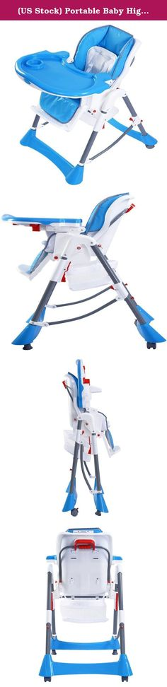 (US Stock) Portable Baby High Chair Infant Toddler Feeding Booster Folding Highchair, Blue. Product Description: This is our new baby highchair, which is perfect to hold babies in the chair safely when dining at home or travelling outside. Welcome! High quality with competitive price can be realized here. Solid steel frame and heavy-duty stable base Foldable design for storage and carry to save room Adjustable height of the tray to meet different needs of heights Advanced and harmless...