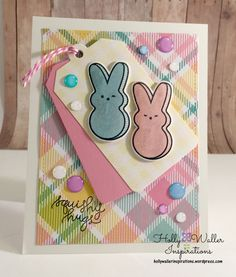 #SSSFAVE Hey everyone! Popping in today to share this cutie patootie peeps card with you. This card was made with the Simon Says Stamp March 2016 card kit and just a few other supplies. Lets get started. Ho…