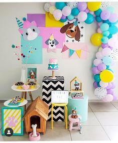 Party Decoration, Birthday Decorations, Birthday Party Themes, Birthday Invitations, Puppy Birthday, 1st Birthday Girls, Puppy Party, Birthday Photos, Childrens Party