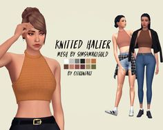 "citrontart:  "" KNITTED HALTER RECOLOUR & RETEXTURE ( ORIGINAL MESH BY @sims4-marigold )  I love the shape of this top so much but it came mostly in patterns and colours I didn't like :'( here it is recoloured & retextured to look like a knitted top and..."
