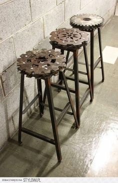 Industry Approved! Stools Kitchen Home Decor Trends Industrial Design Industrial Bar Stools, Vintage Industrial, Industrial Chic, Industrial House, Industrial Bookshelf, Industrial Farmhouse, Industrial Lighting, Vintage Bar, Industrial Industry