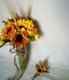 Wedding Bouquet Sunflower Cheap Wedding by BudgetWeddingBouquet, $179.00.    I love the way the flowers are bunched together with twine -- and you could have beach grass or twigs instead of the wheat, and use any inexpensive flower in your colors or in white
