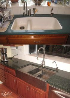 Replaced outdated double bowl sink with custom Rachiele workstation sink! Available in all sizes. Made in the USA by Rachiele Custom Sinks. See more examples at www.rachiele.com. #newkitchen #kitchentransformation #beforeandafter New Kitchen, Kitchen Ideas, Kitchen Designs Photos, Double Bowl Sink, Kitchen Faucets, Farmhouse Kitchens, Stainless Steel Sinks, Usa, Stainless Steel Kitchen Sinks