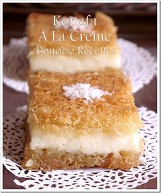 Cream Konafa (Sweet Lebanese Cream Filled Noodle Pastry).