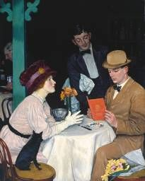 Bank Holiday William Strang (Scottish, Oil paint on canvas. Perhaps the gentleman, in his day suit and with hat still on his head, has brought the lady to dinner on bank. Harlem Renaissance, Art Deco, Blog Art, Tate Gallery, Edwardian Era, Bank Holiday, Couple Art, Belle Epoque, Art History