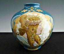 Antique porcelain vase Mucha portrait gold enameling Germany