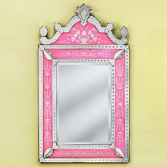 Large Natasha Pink Venetian Arched Wall Mirror - 38W x 68.5H in. - VG-072