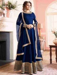 fda6d21c75fb Buy Navy Blue Embroidered Bangalori Silk Anarkali suit with Dupatta Online  Uniqlo Women Outfit