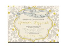 Its A Boy Baby Shower Invitation Vintage Gray & Yellow Baby Boy Modern Floral Invite DIY Printable or Printed - Meredith Style. $20.00, via Etsy.