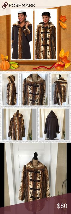 Reversible Faux Fur Coat with Toggle Hooks Two beautiful looks in one coat Dennis Baso Jackets & Coats