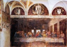 Leonardo da Vinci – Last Supper (1495-98) fresco on the walls of the refrectory of Santa Maria delle Grazie in Milan.