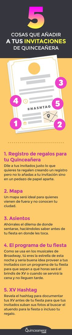 Evalúa si los siguientes datos te beneficiaran al enviar  las invitaciones de tus Quince: - See more at: http://www.quinceanera.com/es/invitaciones/5-cosas-que-anadir-a-tus-invitaciones-de-quinceanera/#sthash.dfdNdZpd.dpuf