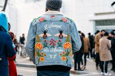 Paris Fashion Week Streetstyle by The Petticoat -Embroidery Denim Jacket mens after Balenciaga Show Paris PFW