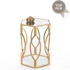 Worlds Away Morocco Gold Hexagonal Side Table