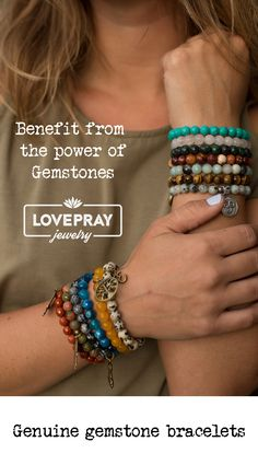 Genuine gemstone beaded bracelets! Benefit from the healing power of gemstones, all under $29 #armcandy #bracelets