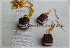 Chocolate Ice Cream Sandwiches Jewelry Set by AnnasArtStore on Etsy
