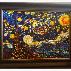 KIDS ART made of BRoKeN Crayons!!  A client had it & had bought it at a school auction!!!!  (whole class worked on it!). :).