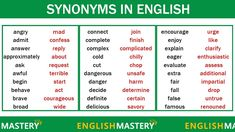 Learn 150 Common Synonyms Words in English to Improve your Vocabulary Learn English For Free, Improve Your English, English Lessons, Learning English, Improve Your Vocabulary, English Vocabulary, Work From Home Jobs, Sentences, Improve Yourself