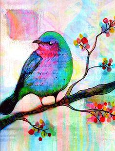 Bird Print Songbird flowers tree leaves Bird by RobinMeadDesigns