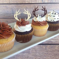Antler themed #cupcakes for a rustic baby shower. The antler toppers are acrylic and I found them on - _jadiecakes_