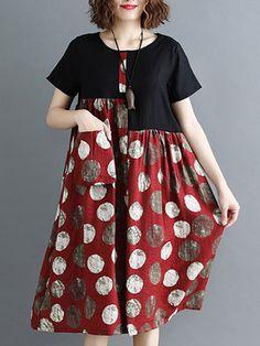 Women Plus Size Polka Dots Printed Shift Crew Neck Casual Midi Dress