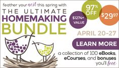 Through Monday, April 27th, you can grab The Ultimate Homemaking Bundle – a huge collection of 100 eBooks, eCourses, and other bonuses (a retail value of over $1274!) for just $29.97!