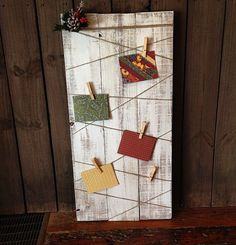 For halloween or xmas photos! Rustic+Christmas+Card+Holder+by+Pinitgiftsandevents+on+Etsy