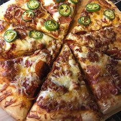 Homemade Pizza Pie on a Sunday.  #traeger #traegergrills #traegerlife #traegernation #smoker #bbq #bbqlife #pizza #pizzalover #pizzapie #pizzalove #pizzaparty #homemadepizza #homemadefood #homemade #fromscratch #pepperonipizza #sausagepizza #jalapenos #nom #nomnom #foodporn #foodstagram #foodlover #dinner #pizzadinner #foodaddict #foodography Reposted Via @beerbbqandbeyond