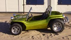 Meyers manx dune buggy with side panels in lime golg metalflake gelcoat