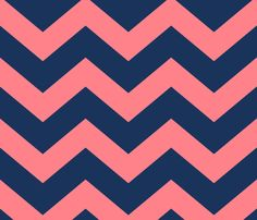 chevron_blue_and_coral fabric by holli_zollinger on Spoonflower - custom fabric