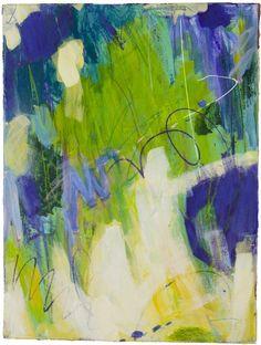 "Ellen Levine Dodd - ""Beards Of Moss"" - 22"" x 30"" - acrylic mixed media on cotton rag paper - available at Anne Neilson Fine Art"