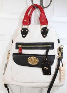 Emma Fox Authentic Leatherware Foldover Red Chalk Black Bag Gorgeous Msrp 298