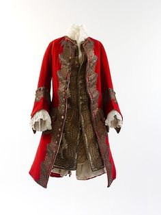 The Metropolitan Museum Men's formal and court attire, with a flaring peplum or skirt also worn with breeches. 18th Century Clothing, 18th Century Fashion, 17th Century, Historical Costume, Historical Clothing, Vintage Outfits, Vintage Fashion, Court Attire, European Dress