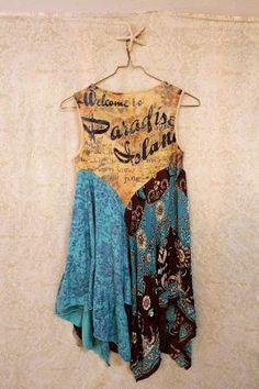 Boho Shirt, Shabby Chic Romantic, Bohemian Junk Gypsy Style, Mori Girl, Lagenlook, Cowgirl Country Girl Chic by Cloud9