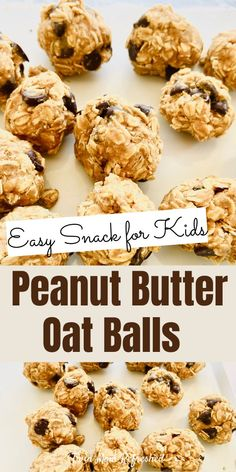 Peanut butter oatmeal balls are easy to make. Peanut butter oatmeal balls are easy to make and a healthy homemade snack for kids and the family. This no-bake energy ball recipe is quick to make and a kid-friendly food! Healthy Homemade Snacks, Healthy Toddler Meals, Healthy Baking, Healthy Kid Food, Healthy Kids Breakfast, Healthy Recipes For Kids, Breakfast Smoothies, Fruit Smoothies, Eating Healthy