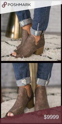 COMING MID SEPTEMBER‼️ Perforated Booties These have been sold out everywhere in the other colors. This color is new to the market and simply stunning. A dark Taupe. Pre order and save 10%. Priced at $54. Shoes Ankle Boots & Booties