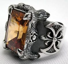 Imperial Topaz Heavy Sterling Silver Gothic Ring.    Dragon Claw & Medieval Axe Gothic Ring Jewelry.