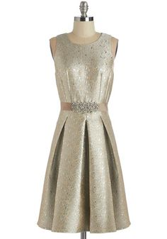 Moonlit and Lustrous Dress. Youll be beaming as brilliantly as the lights around you in this metallic cocktail dress! #gold #prom #modcloth