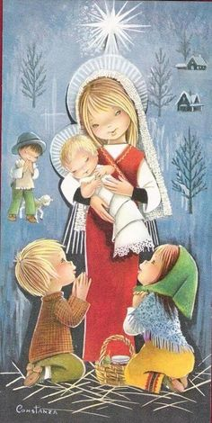 Constanza Armengol Vintage Cartes Postales Greetings Christmas Quality Illustrations Source by angel Christmas Nativity, Noel Christmas, Vintage Christmas Cards, Christmas Pictures, Vintage Cards, Vintage Postcards, Illustration Noel, Illustrations, Clipart Noel