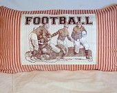 Vintage Football players - French Ticking Pillow Cover - Red Stripe - 12x22 - decorative pillow