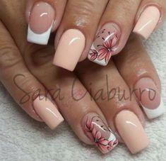 I like the way the white part curves. Love Nails, Pink Nails, My Nails, Heart Nail Designs, Nail Art Designs, Finger, Heart Nails, Perfect Nails, Coffin Nails