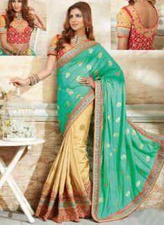 Sea Green Beige Embroidery Work Silk Dhupion Designer Wedding Half Sarees http://www.angelnx.com/Sarees/Wedding-Sarees