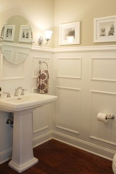 "Traditional Powder Room with Signature Hardware Sussex Pedestal Sink - Small - 8"" Centers - White, Pedestal sink, Powder room"