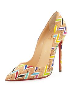 So Kate Chevron Cork Red Sole Pump, Multi by Christian Louboutin at Neiman Marcus.