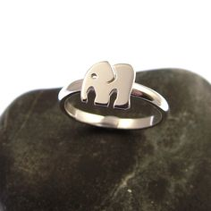 Sterling Silver Elephant Ring - Stacking Ring - Elephant Jewellery - Elephant Gifts