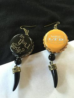Check out this item in my Etsy shop https://www.etsy.com/listing/259785150/punk-bottle-cap-and-beads-earrings