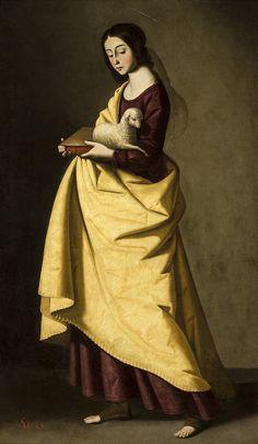 """Art from Spain - Francisco de Zurbarán (1598 – 1664). Inés, hija  de una noble familia romana, en la ëpoca de Dioclesiano, se declaró fiel amante de Cristo, rechazando a todos sus pretendientes. Fue denunciada, juzgada y recluida en un prostíbulo, un hombre que intentó yacer con ella quedó ciego. Permaneciendo virgen, fue expuesta en público, desnuda, pero sus cabellos le crecían de manera que tapaban su cuerpo, siendo finalmente decapitada. """"Santa Inés"""" 1650. Museo de Bellas Artes de…"""