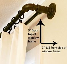 DIY industrial double conduit curtain rod - Use PVC pipe and paint Industrial Home Design, Industrial Pipe, Industrial House, Industrial Shelves, Pipe Shelves, Home Design Diy, Design Design, Rustic Curtains, Diy Curtains