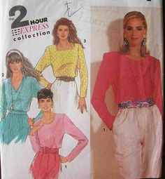 Simplicity 7381 Sewing pattern, plus size dressmaking pattern, complete, blouse pattern, pullover pattern, size 10 - 18, 90s 1990s, vintage by Rethreading on Etsy