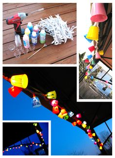 Patio lights made from plastic shot glasses